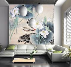 中国风荷花电视墙背景