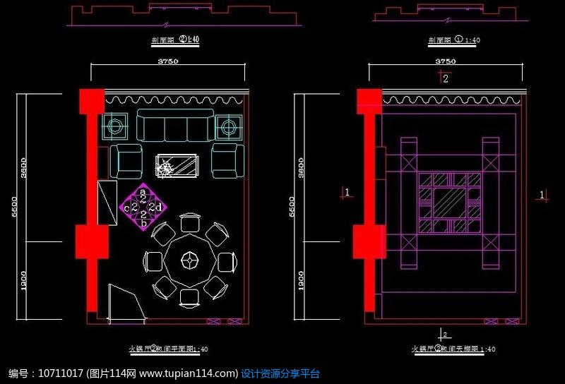 火锅店小型包间平面顶面造型设计图纸