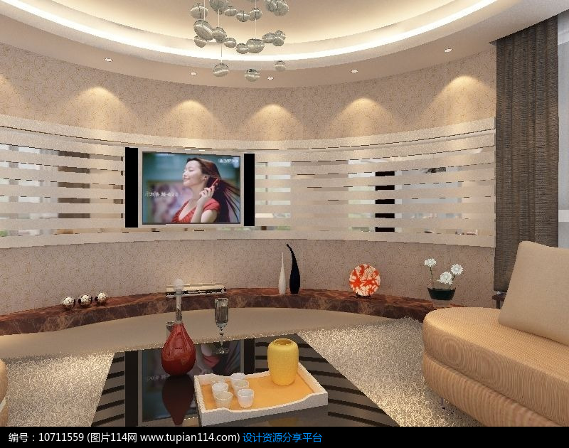 [原创] 圆弧形电视墙造型设计模型