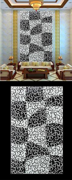 抽象黑白花纹仿彩雕玄关