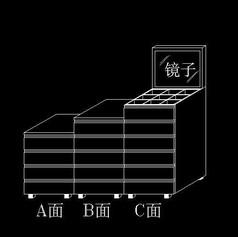 组合抽屉柜三维设计图块