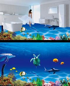 3D海底海洋世界海豚地砖地板画