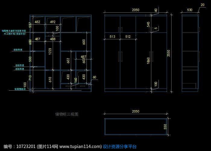 [原创] 卧室衣柜内部尺寸设计图纸