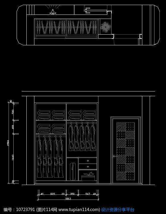 [原创] 卧室衣柜内部结构图纸