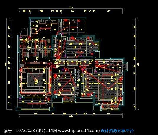 家装户型走线尺寸施工图纸,cad室内装修图免费下载,,.