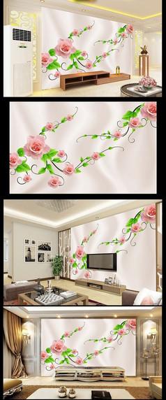玫瑰花绸布立体电视机背景墙