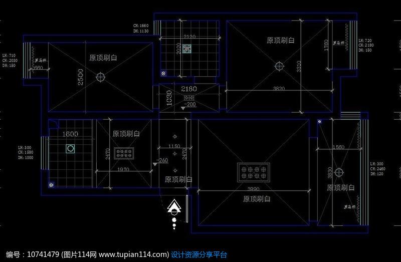 [原创] 标准两室户型顶面施工设计图