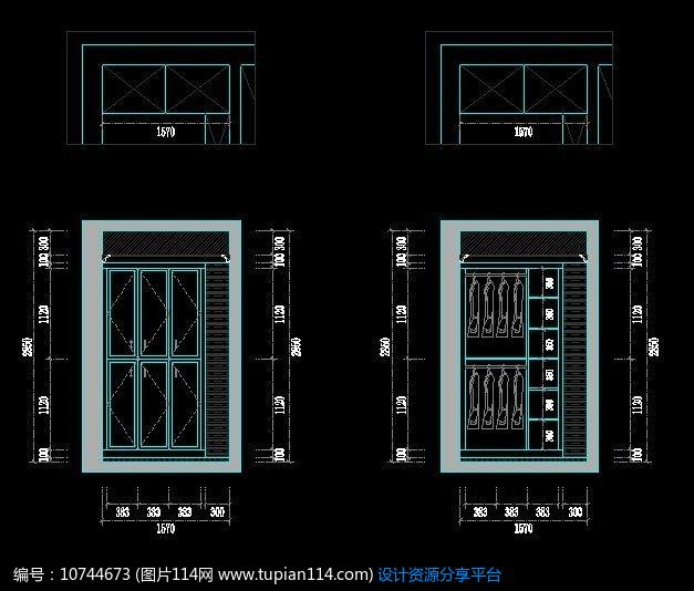 [原创] 对开门衣柜施工设计图