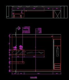 现代风格别墅客房书桌书柜立面设计图