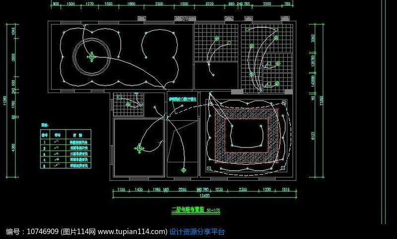 二楼电路布置图,其他,cad图纸免费下载