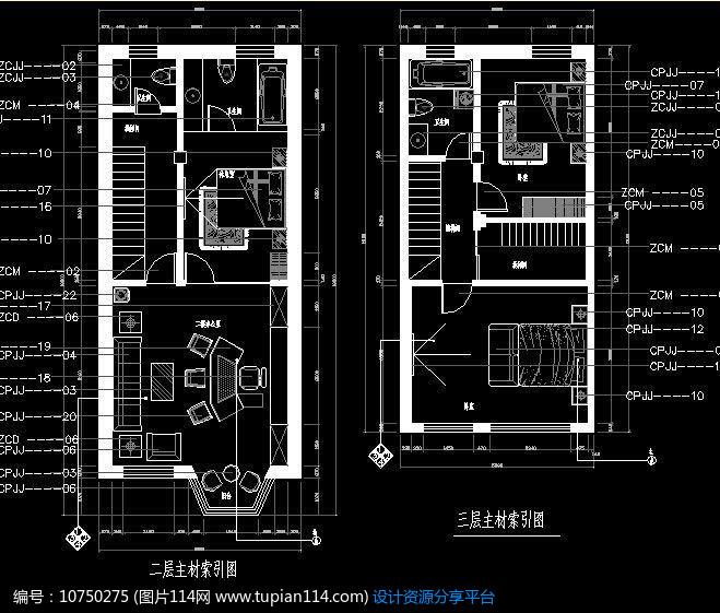 办公楼二三层立面索引图,cad室内装修图免费下载,cad