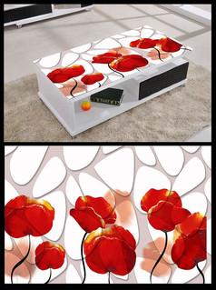 3D立体几何花桌面背景模板