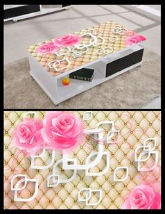 3D立体几何玫瑰桌面背景模板