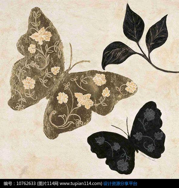 简约欧美风格装饰画蝴蝶设计