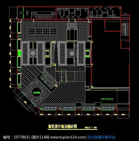 陶瓷地面展厅铺装CAD矩形cad2014圆变图纸角图片