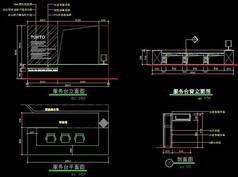 陶瓷展厅服务台平立面及剖面CAD图纸