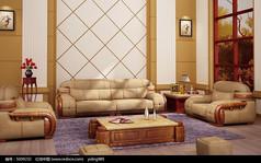 欧式新古典厚皮软包沙发红木雕花3d模型下载