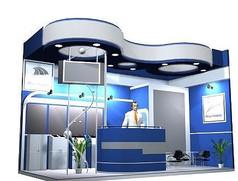蓝色时尚产品展厅设计3D模型素材资料