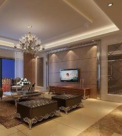 古典歐式客廳造型裝修3D素材資料