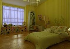 果绿色儿童房装修3D模型素材资料
