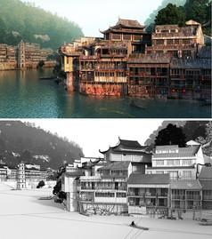 江南古镇古建筑模型