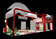 红色个性造型自行车展厅设计3D模型素材