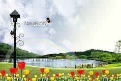 春季自然风景psd素材海报设计