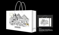 著名金字塔建筑手绘矢量手提袋