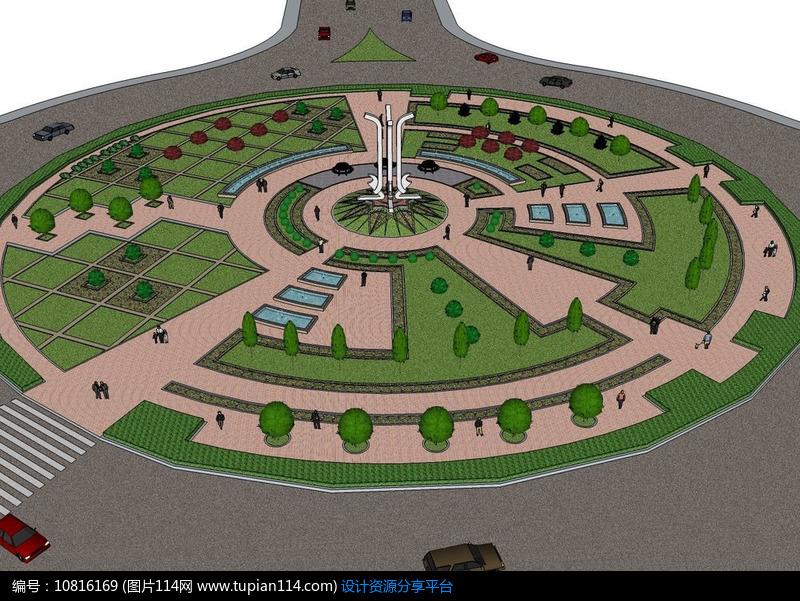 [原创] 城市交通绿地圆形广场景观模型