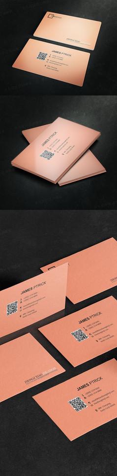粉色女性美容二维码名片