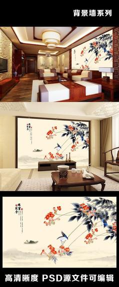 中国风水墨画雅室蘭香喜鹊枝头电视背景墙装饰画