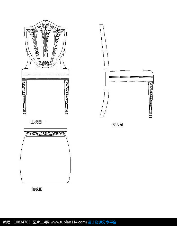 [原创] 欧式椅子生产图cad素材