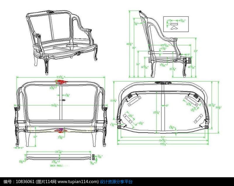 相关素材 双人沙发定制家具家俱设计施工图生产图设计图三视图正视图