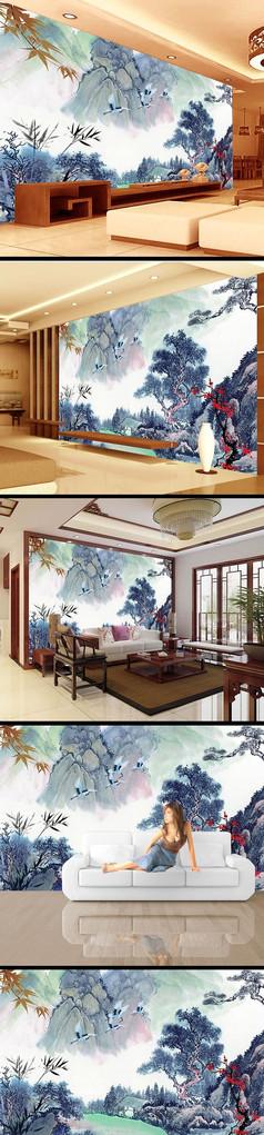 中国画水墨画风景画背景墙