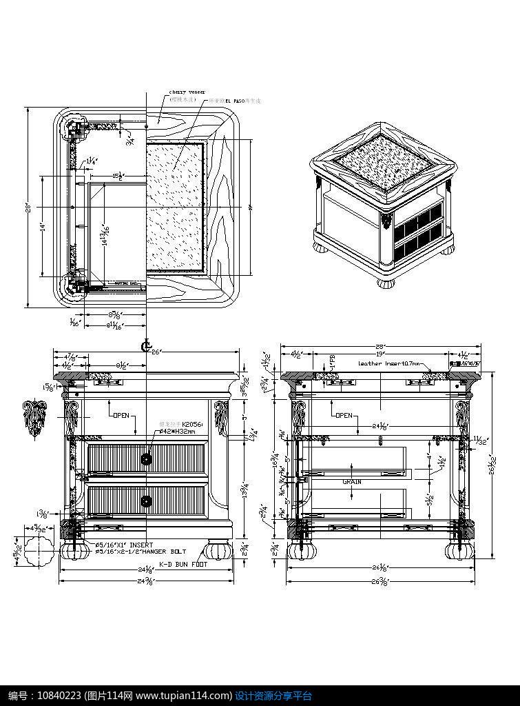 层板方形柜素材配圆角和抽屉CAD图纸2008cad匹配cass图片
