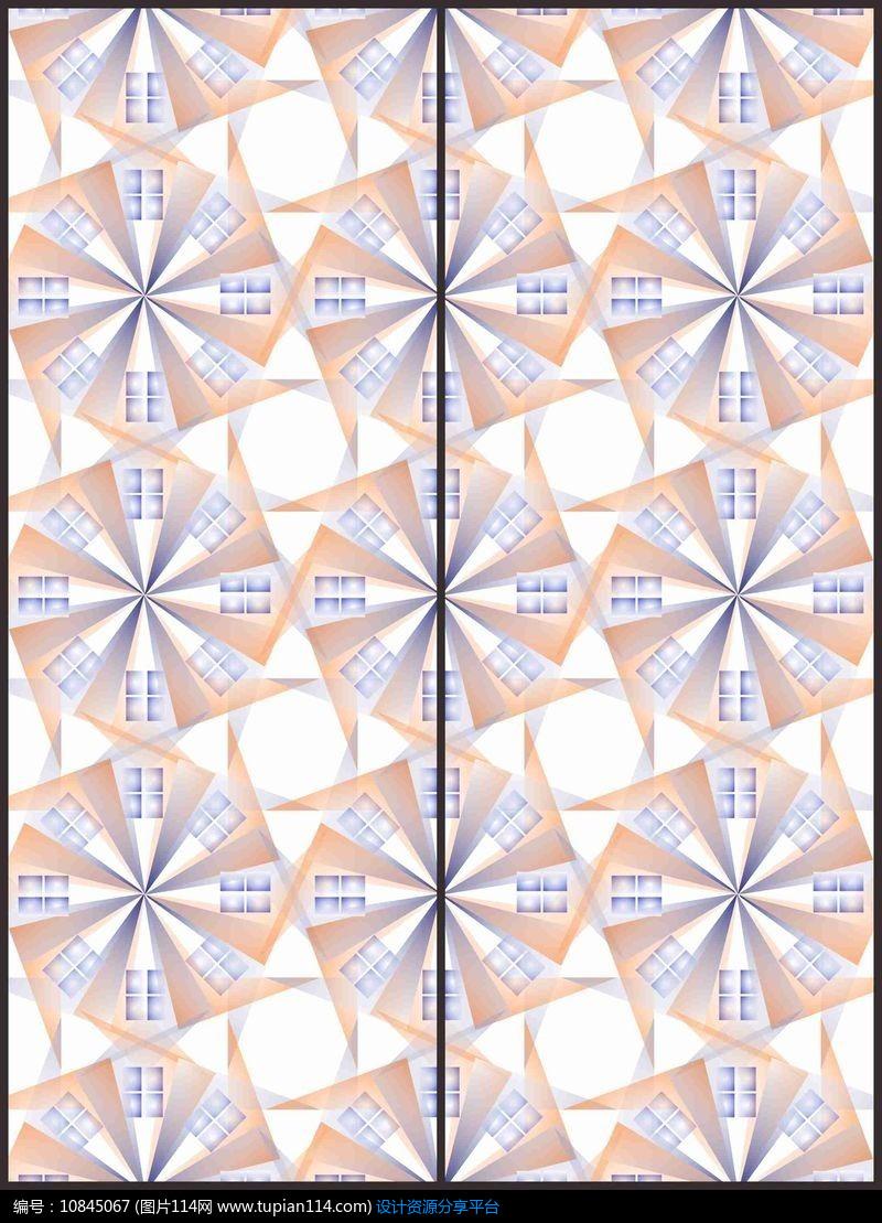 [原创] 现代螺旋三角几何移门图案图片