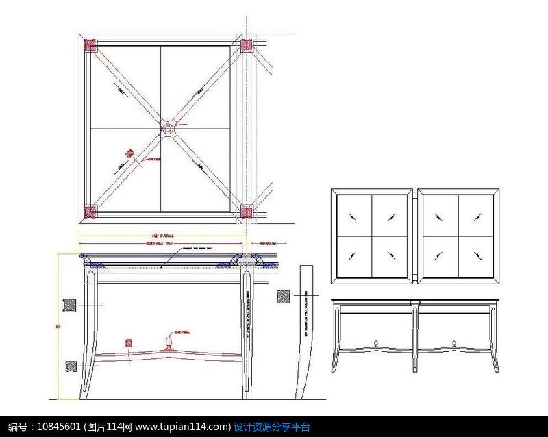 托弧形咖啡盘式拉线脚面板方形桌CAD图纸2014cad32位注册机图片