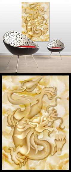 中国风中国龙高清玉雕装饰画