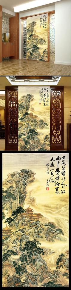 中国风水墨画高山玄关背景墙
