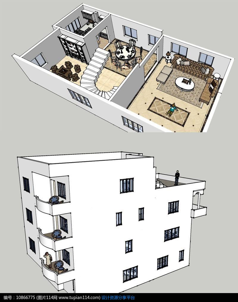 欧式风格别墅大师草图模型SU家装,3d室内别墅模型李德立图片