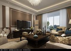 美式客厅3D设计图