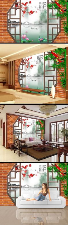 中国风水墨画江南水乡电视背景墙