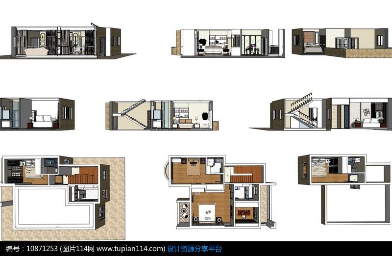室内欧式别墅模块草图大师风格SU模型skp家装别墅装修青岛图片