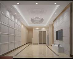 3D白色调简约客厅餐厅模型和效果图