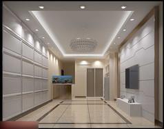 3D白色简约客厅餐厅模型和效果图