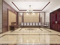 3D红色中式客厅大厅模型和效果图