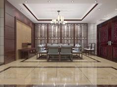 3D红调简中客厅大厅模型和效果图