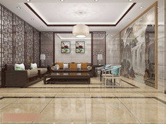 3D深色中式客厅茶厅模型与效果图