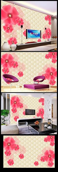 唯美小红花软包立体电视机背景墙