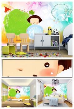 梦幻卡通风景小孩儿童房背景墙